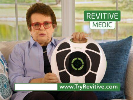 REVITIVE Medic DRTV Shoot with tennis legend Billie Jean King